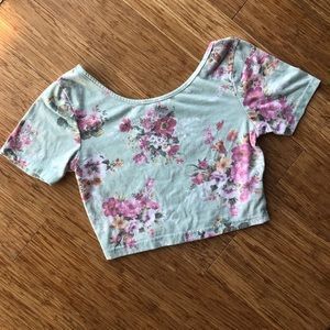 Floral Scoop Neck Crop Top from PacSun